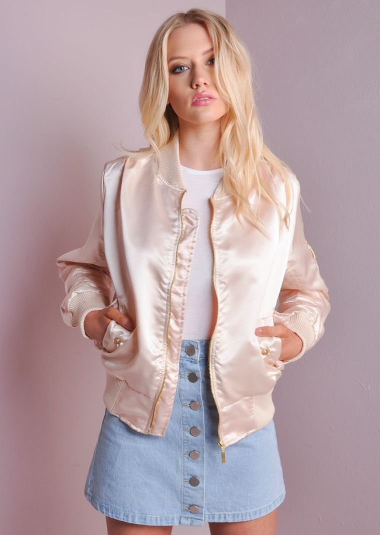 MA-1 Contrast Ribbed Satin Bomber Jacket Peach alexa-3-2